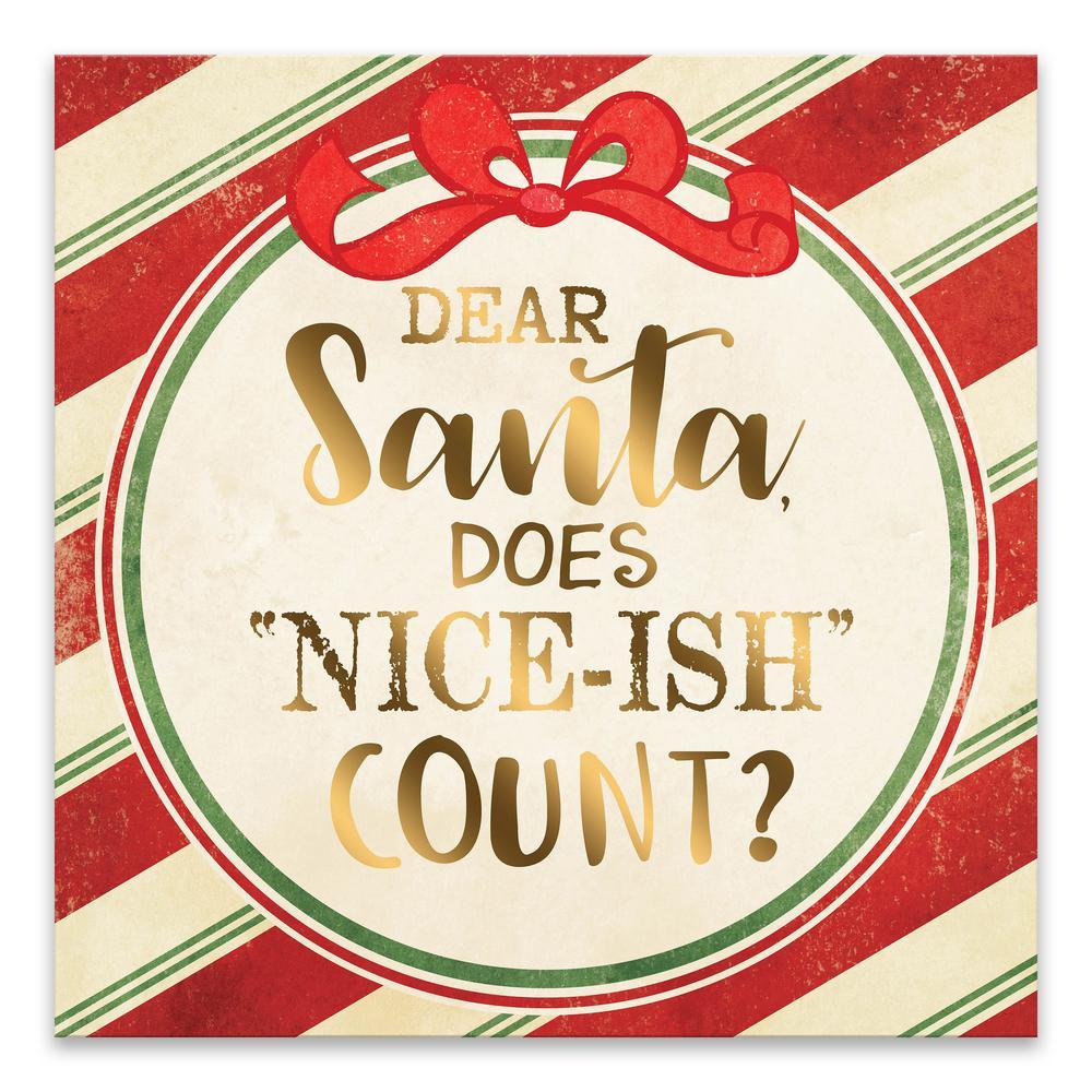 """""""Dear Santa"""" by Lot26 Studio Foil Embellised Canvas Wall Art"""