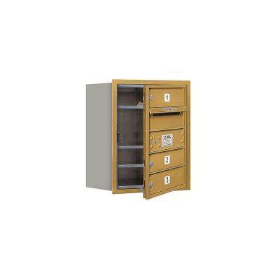3700 Series 20 in. 5 Door High Unit Gold Private Front Loading 4C Horizontal Mailbox with 3 MB1 Doors