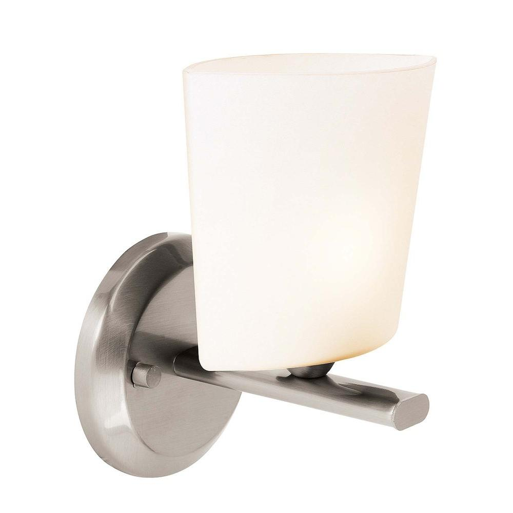 Access Lighting 1 Light Vanity Brushed Steel FinishOpal Glass-DISCONTINUED