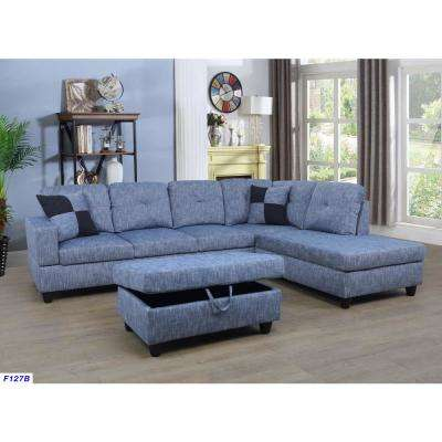 Blue Left Chaise Sectional with Storage Ottoman