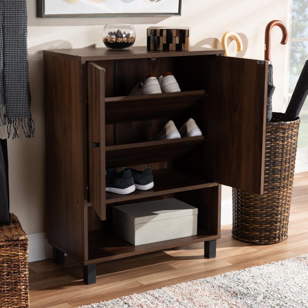Baxton Studio Rossin 32 In H X 24 In W 8 Pair Walnut Wood Shoe Storage Cabinet 153 9154 Hd The Home Depot