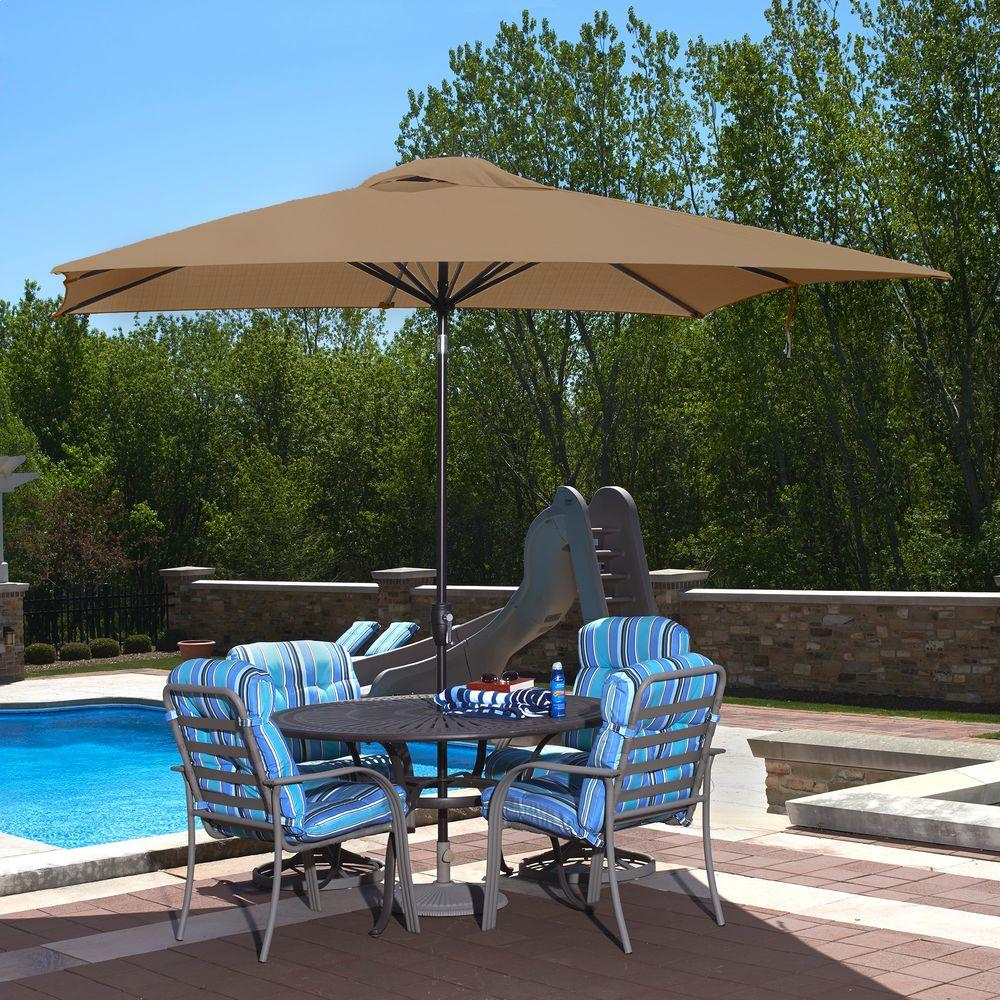 Island Umbrella Caspian 8 ft. x 10 ft. Rectangular Market Push-Button Tilt  Patio Umbrella in Stone Olefin