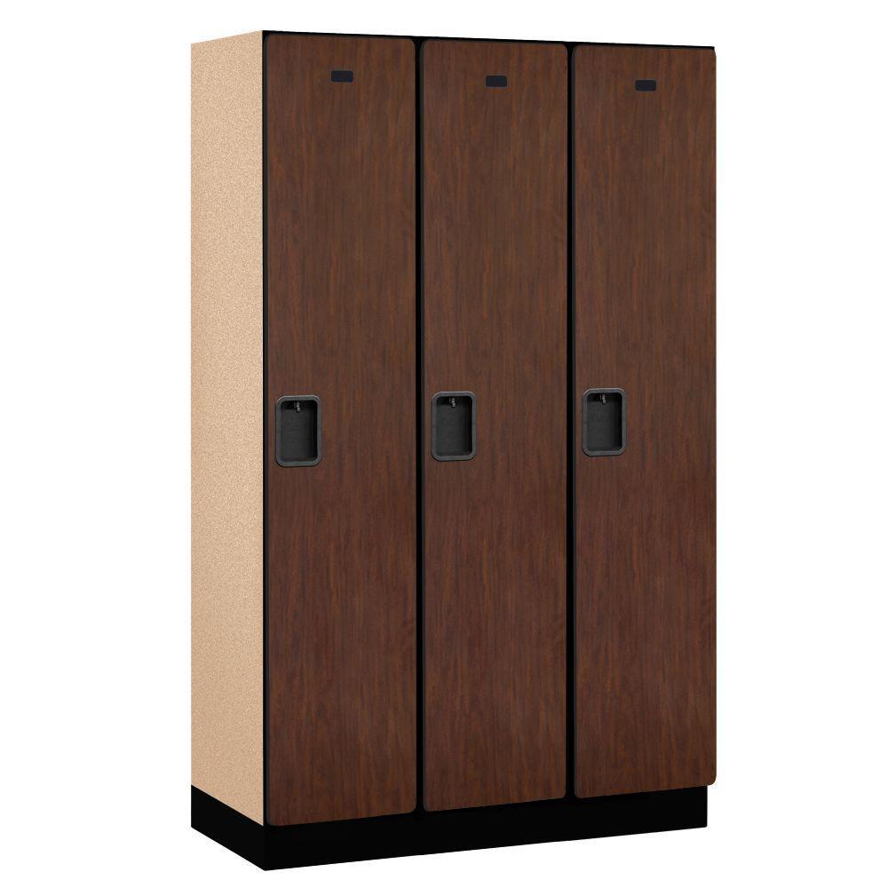 21000 Series 1-Tier Wood Extra Wide Designer Locker in Mahogany - 15 in. W x 76 in. H x 18 in. D (Set of 3)
