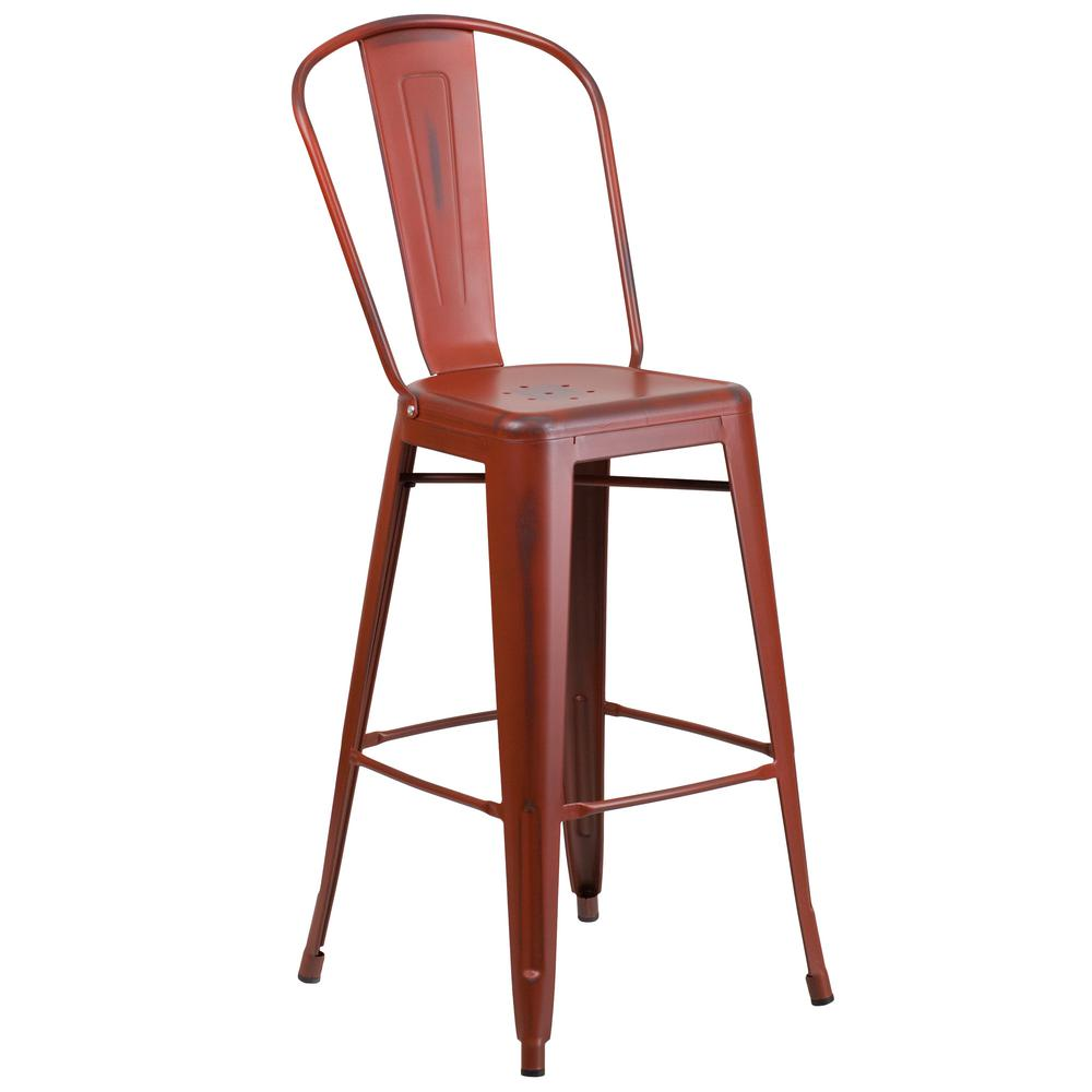 distressed kelly red bar stool