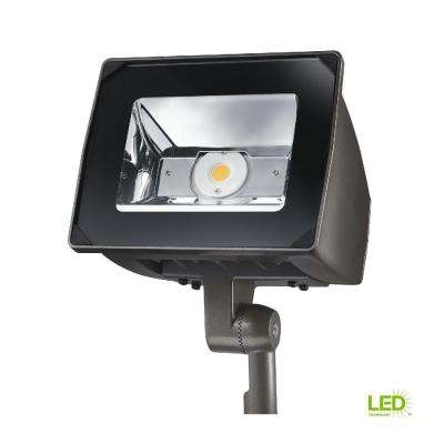 51-Watt Bronze Outdoor Integrated LED Small-Head Flood Light with Trunnion Mount