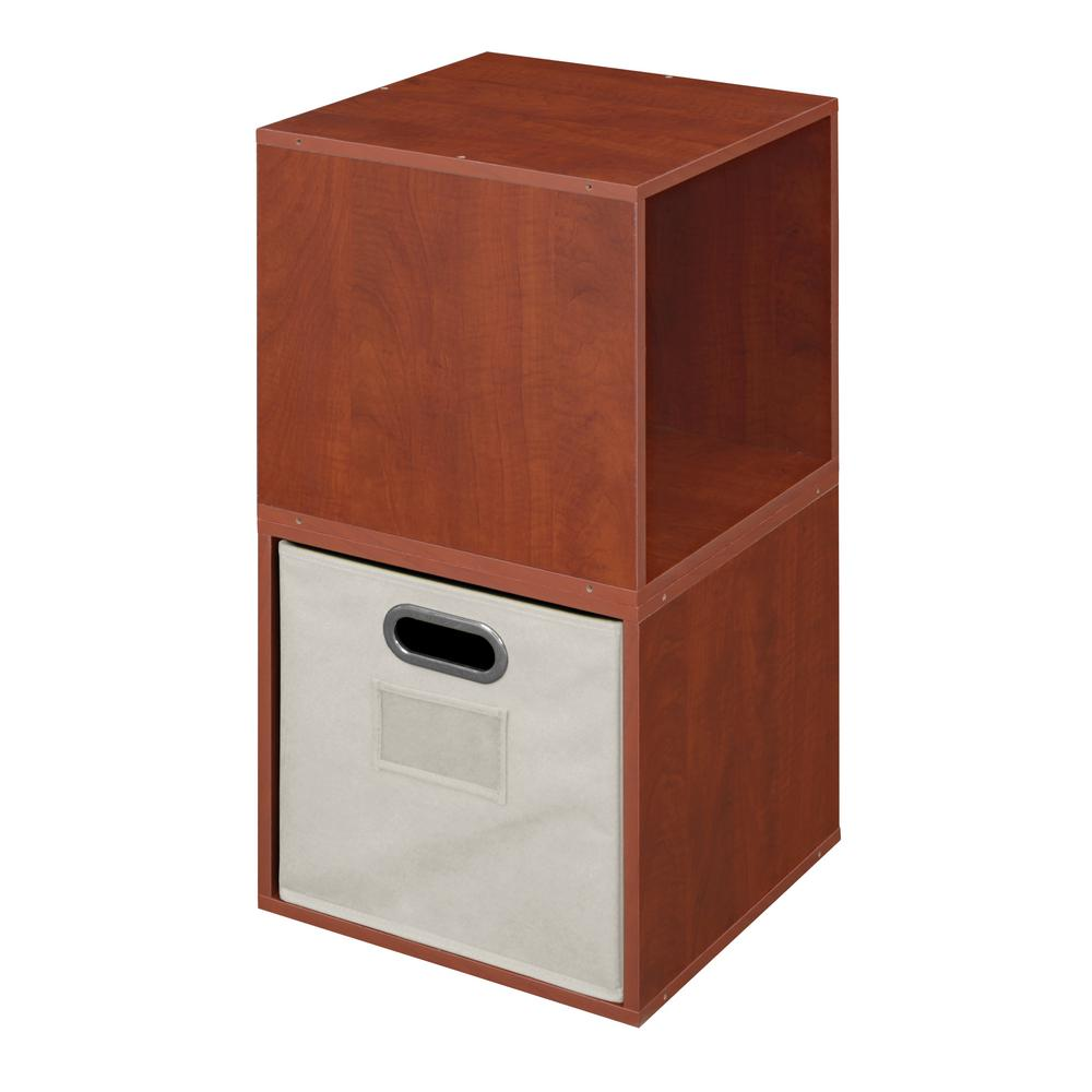Cubo 13 in. x 26 in. Warm Cherry/Natural 2-Cube and Bin