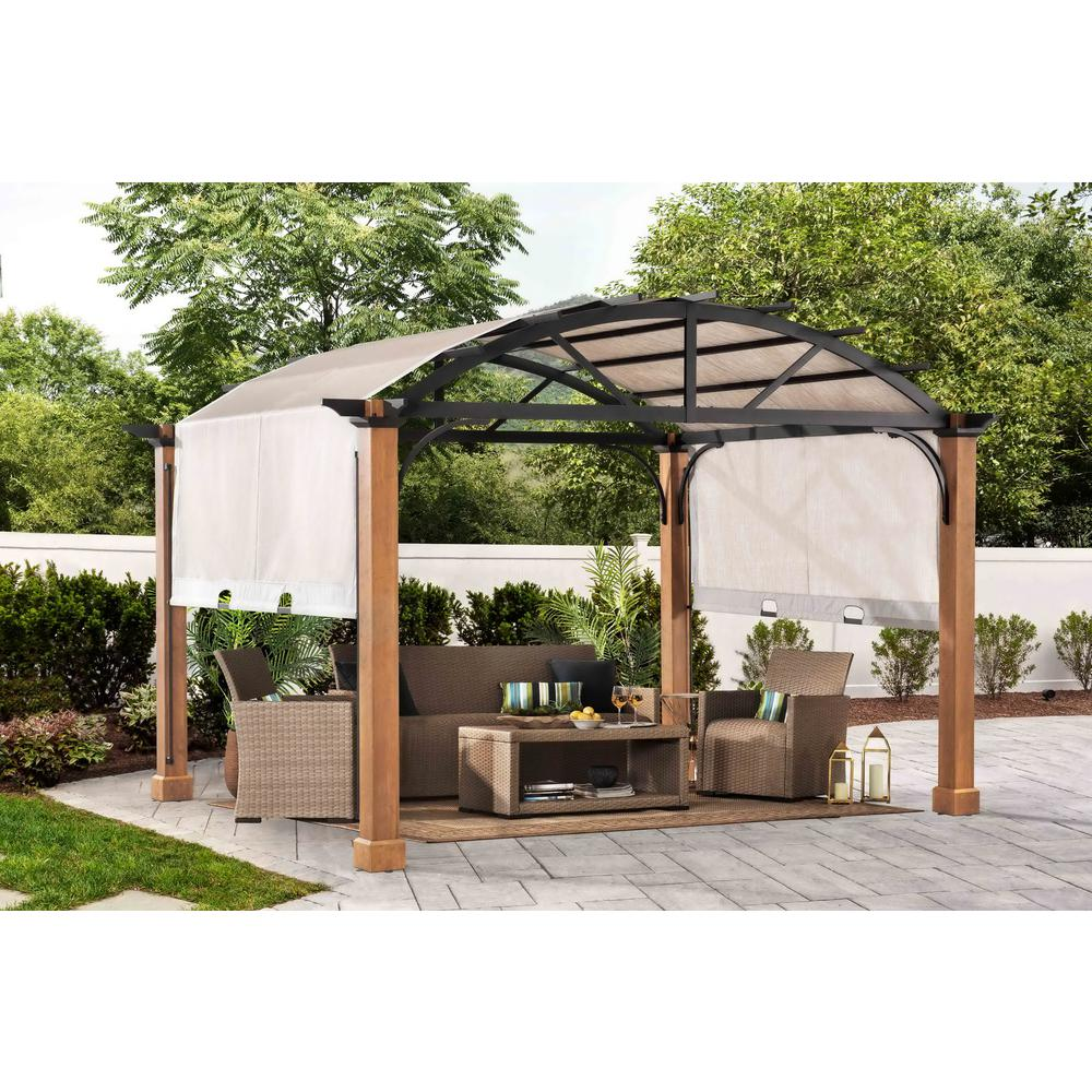 10 ft. x 12 ft Longford Wood Outdoor Patio Pergola with Sling Canopy