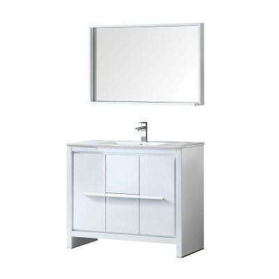 Allier 40 in. Vanity in White with Ceramic Vanity Top in White and Mirror