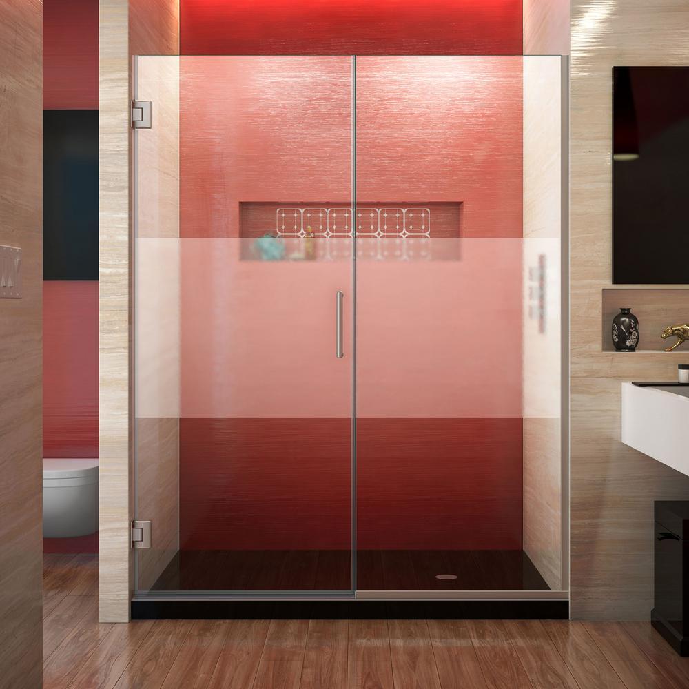 Unidoor Plus 57.5 to 58 in. x 72 in. Frameless Hinged Shower Door in Brushed Nickel