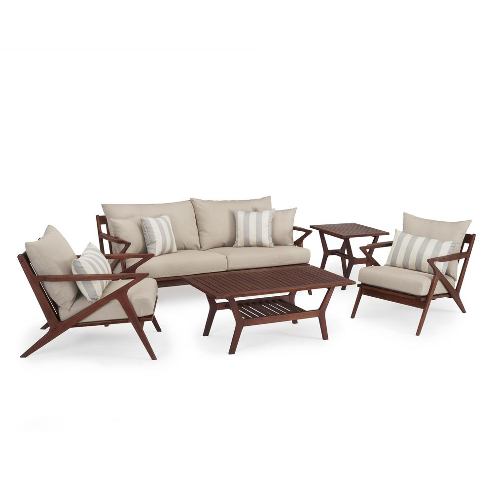 RST Brands Vaughn 5-Piece Wood Patio Conversation Set with Slate Grey Cushions