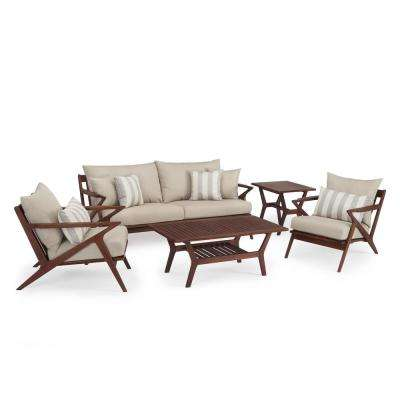 Vaughn 5-Piece Wood Patio Conversation Set with Slate Grey Cushions