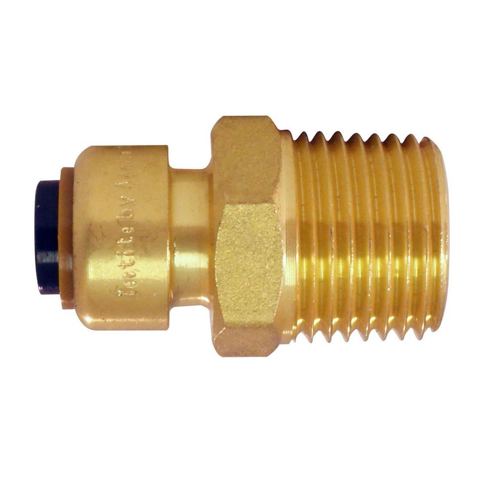 Push To Connect Fittings >> Tectite 1 4 In 3 8 In O D Brass Push To Connect X 1 2 In Male Pipe Thread Reducing Adapter