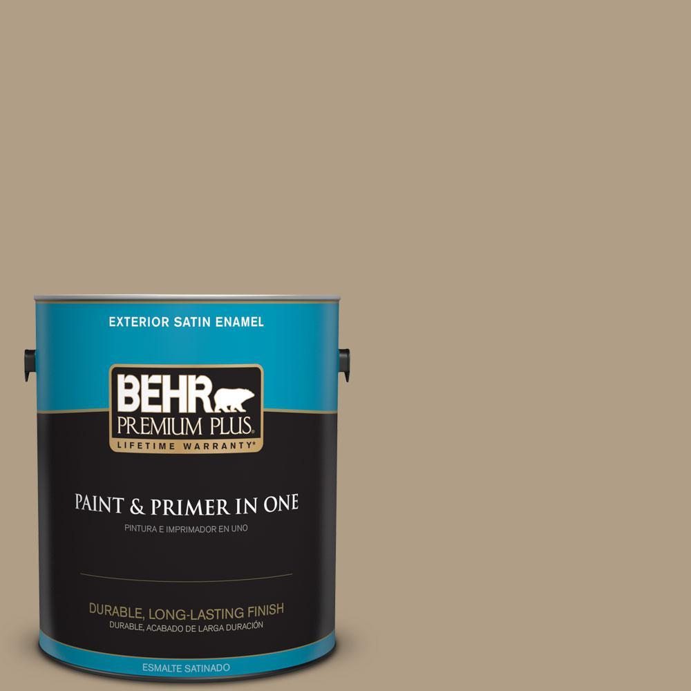 BEHR Premium Plus 1-gal. #ECC-53-2 Wild Rye Satin Enamel Exterior Paint