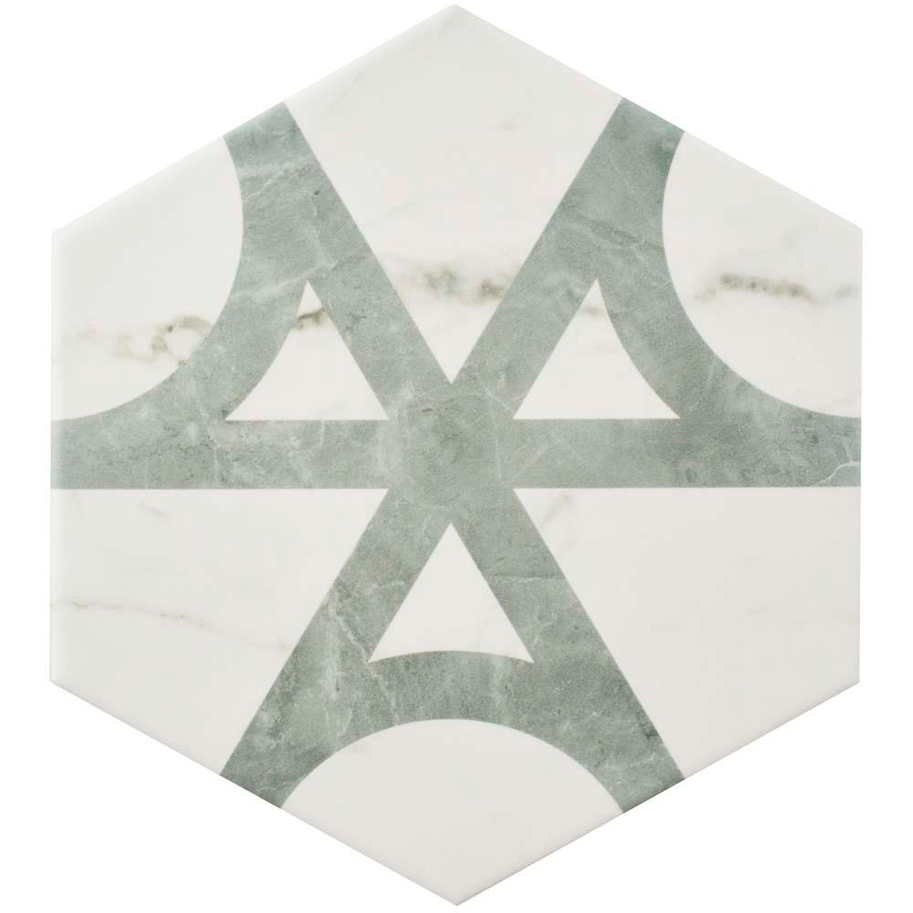 Classico Carrara Hexagon Flow 7 in. x 8 in. Porcelain Floor