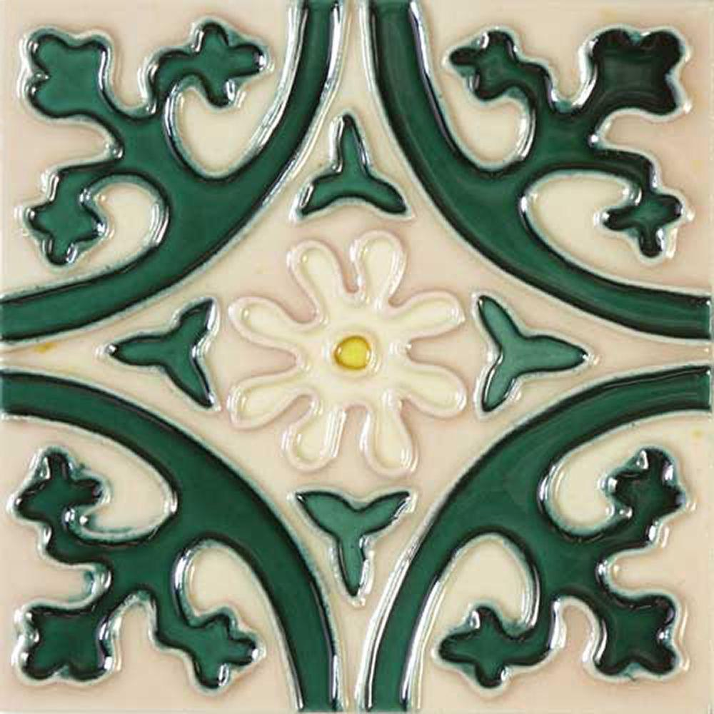 Solistone Hand-Painted Jardin Deco 6 in. x 6 in. x 6.35 mm Ceramic ...