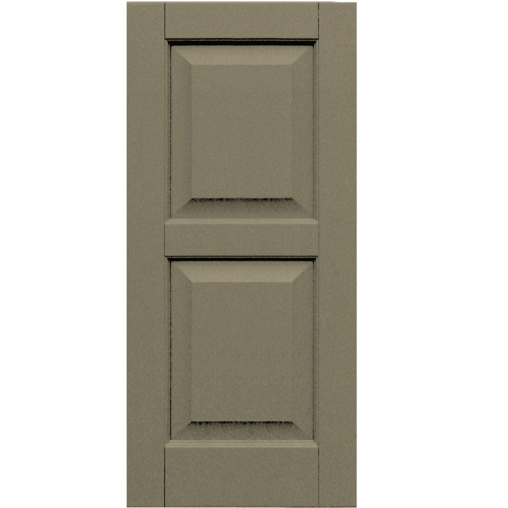 Winworks Wood Composite 15 in. x 33 in. Raised Panel Shutters Pair #660 Weathered Shingle