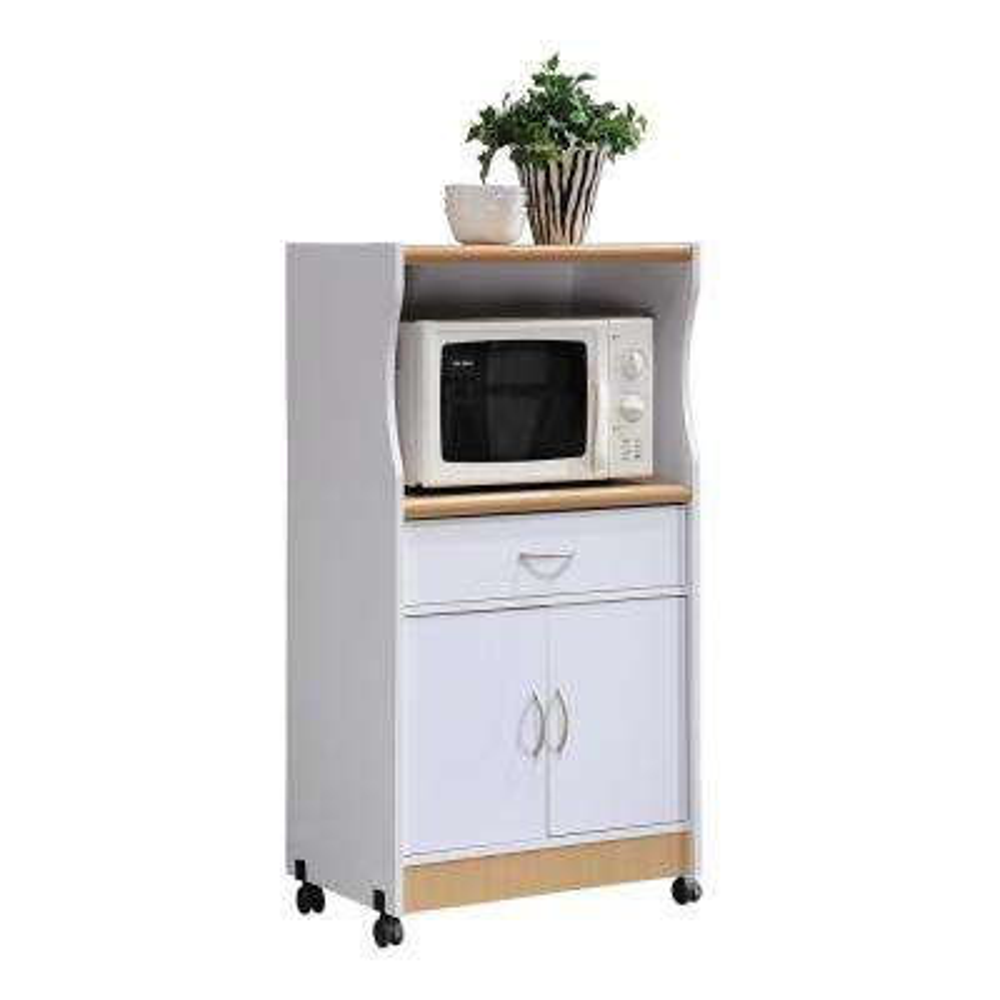1 Drawer White Microwave Cart