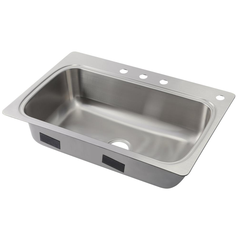 KOHLER Verse Drop-in Stainless Steel 33 in. 4-Hole Single Bowl ...