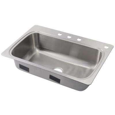 Verse Drop-in Stainless Steel 33 in. 4-Hole Single Basin Kitchen Sink