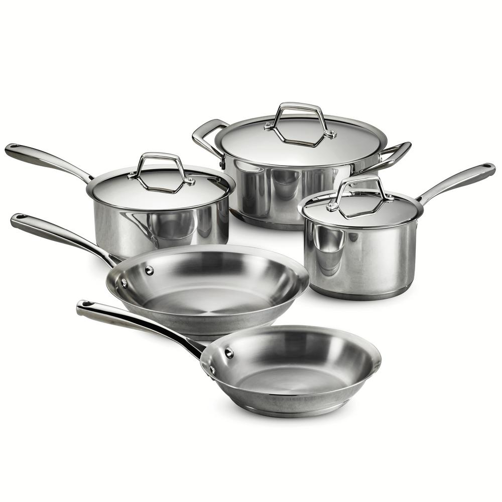 Gourmet Prima 8 Piece Stainless Steel Cookware Set With Lids, Silver/mirror Polished