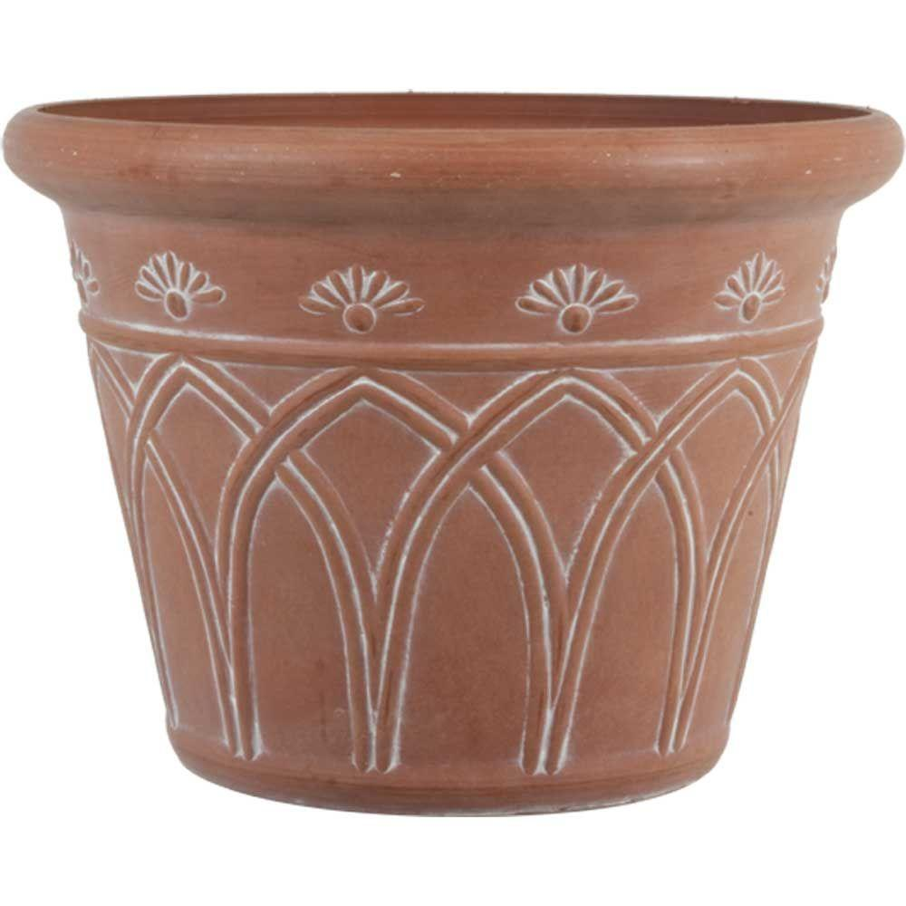 12 in. Dia Arch Terra Cotta Plastic Planter