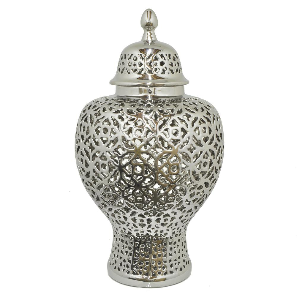 THREE HANDS S Ceramic Pierced Temple Jar-92590 - The Home Depot