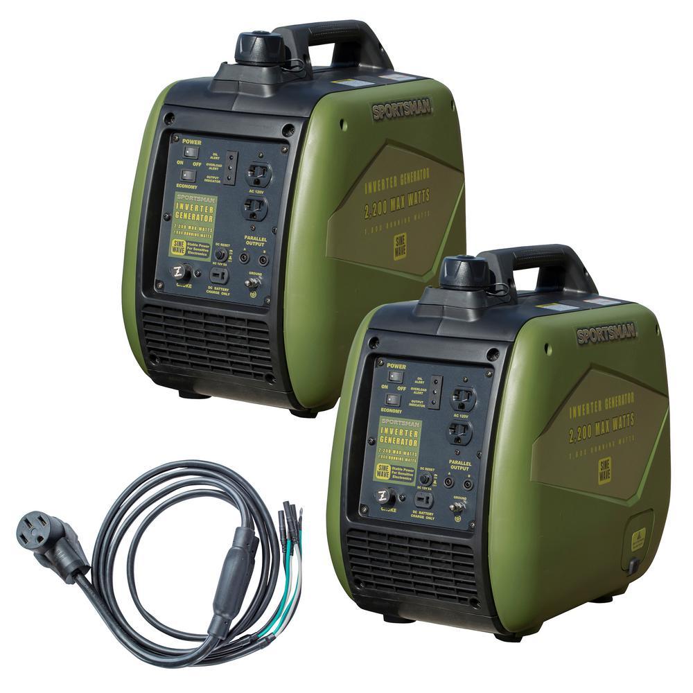 4,400-Watt to 3,600-Watt Portable Gasoline Powered Inverter Generator Kit with 50 Amp Parallel Cable