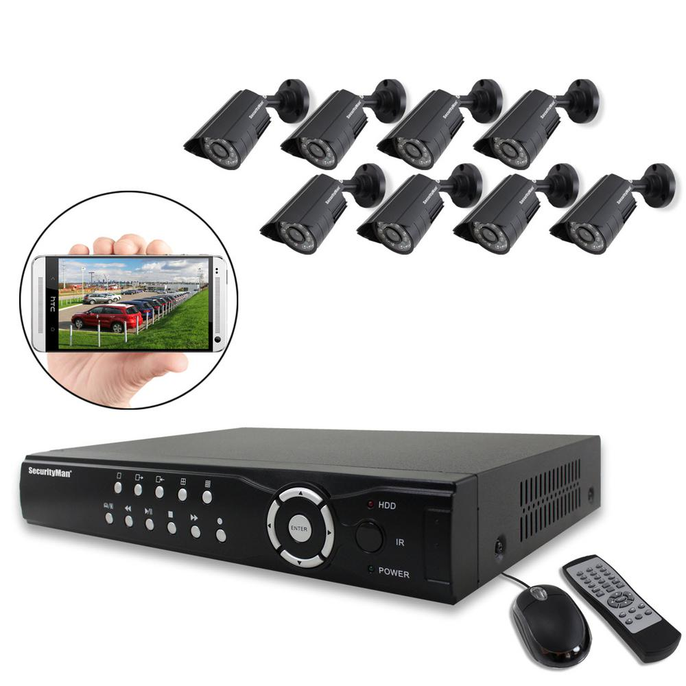 8-Channel H.264 Network DVR System with 8 Indoor/Outdoor Color Camera/Night Vision and Cable SecurityMan NDVR8-1TBK is an 8-camera network digital video recorder systems designed for home and business. The cameras (SM-218) can be installed outdoor/indoor for day time or night time recording. The System provides image compression producing clear digital video view for smoother and faster streaming over the internet. It is equipped with auto ID plug and play software making setup easy without network knowledge or configuration. The model comes with a 1TB of recordable space. It can document up to 22 days under normal quality. You can monitor any residence remotely anytime via Smartphone or PC.