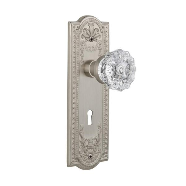 Nostalgic Warehouse Meadows Plate With Keyhole 2 3 8 In Backset Satin Nickel Privacy Bed Bath Crystal Glass Door Knob 701827 The Home Depot