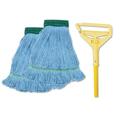 Looped-End Mop Kit, Medium, 60 in. Metal/Polypropylene Handle, Blue/Yellow