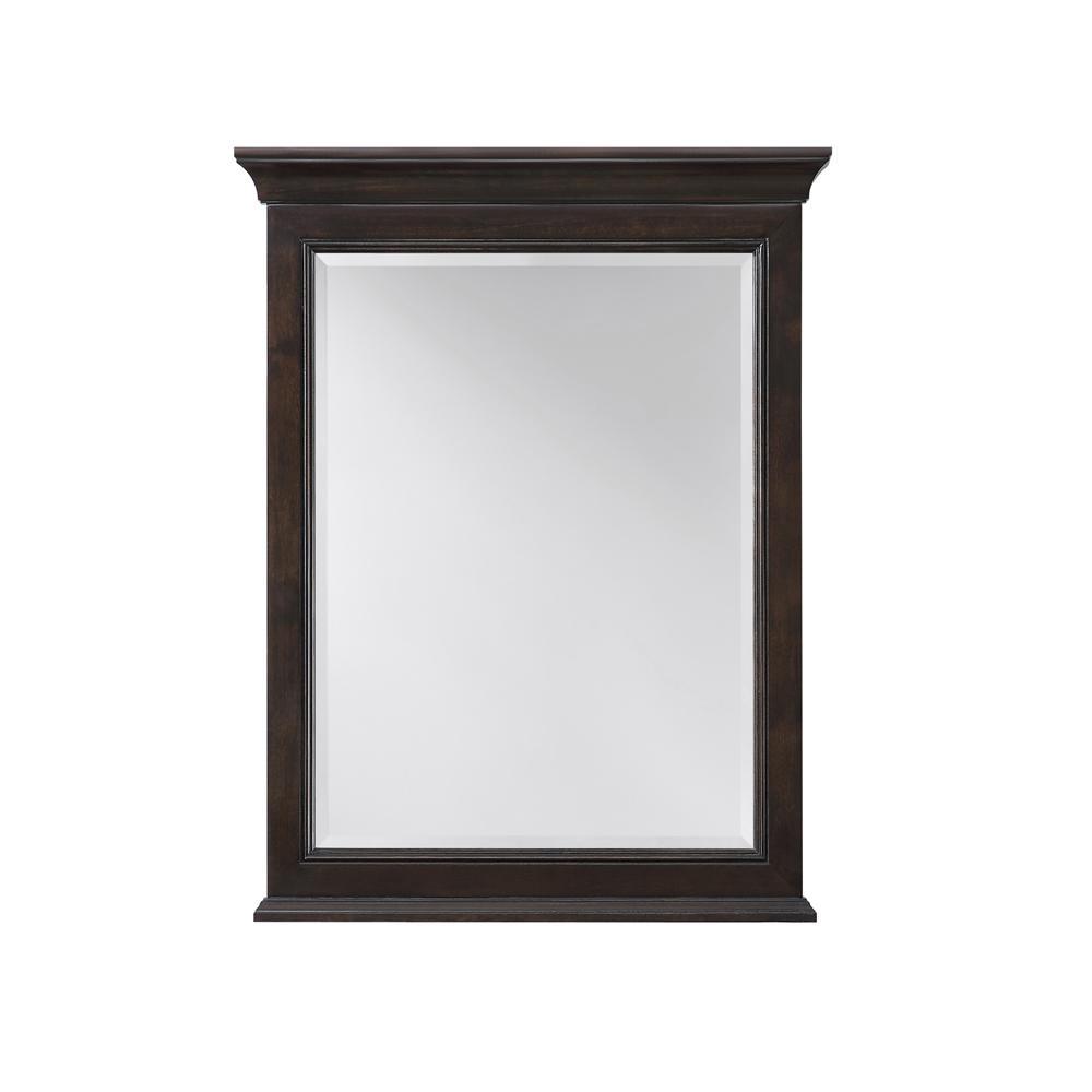 24.00 in. W x 31.00 in. H Framed Rectangular  Bathroom Vanity Mirror in Burnished Walnut