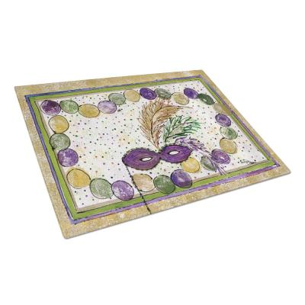 Mardi Gras Tempered Glass Large Cutting Board