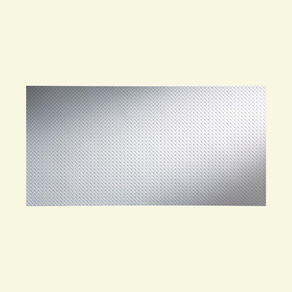 Diamond Plate 96 in. x 48 in. Gloss White Vinyl Decorative