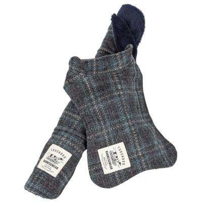 Medium Charcoal 2-in-1 Windowpane Plaided Dog Jacket with Matching Reversible Dog Mat