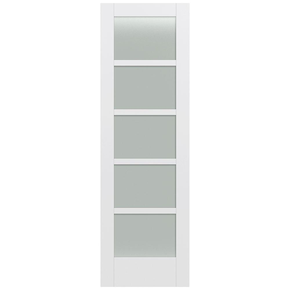 Jeld-Wen 32 in. x 96 in. Moda Primed PMT1055 Solid Core Wood Interior Door Slab w/Translucent Glass