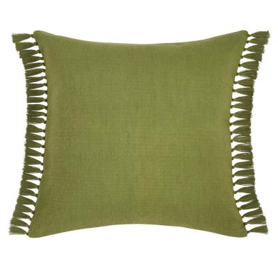 Canvas Fringe Green Cotton Blend European Sham
