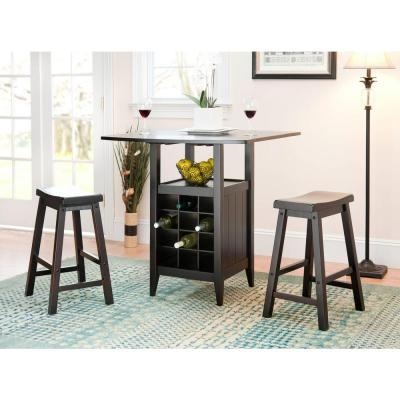 Emeric 3-Piece Espresso Bar Table Set