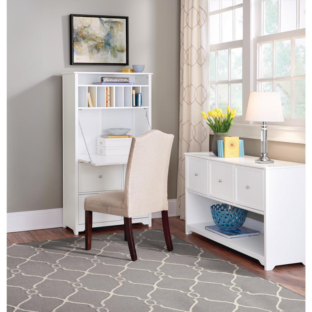 Home Office Furniture White Secretary Desk Solid Wood