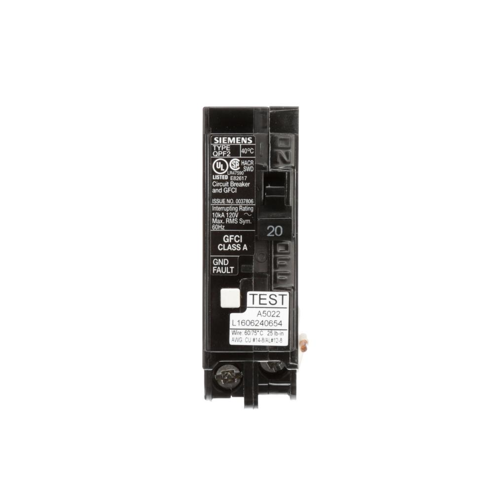 Siemens 20 Amp Single Pole Type Qpf2 Gfci Circuit Breaker Us2 Qf120ap The Home Depot