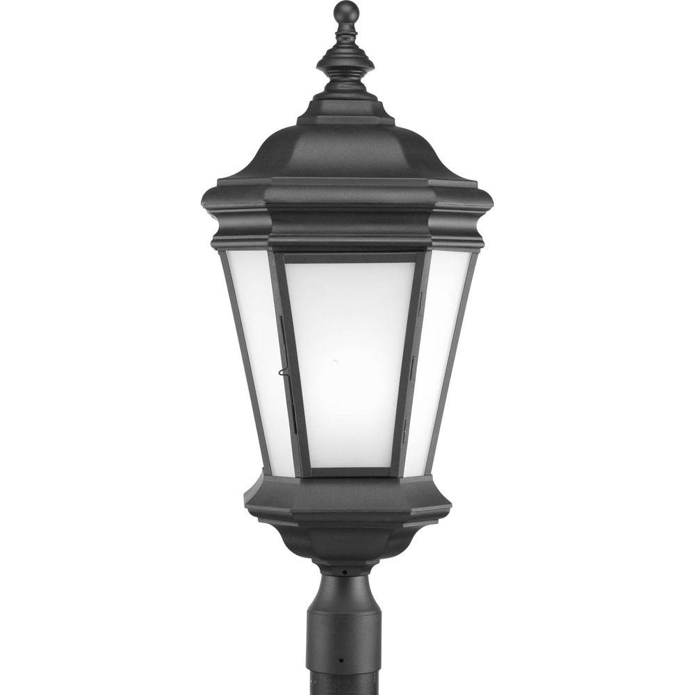Crawford Collection 1-Light Black Fluorescent Outdoor Post Lantern