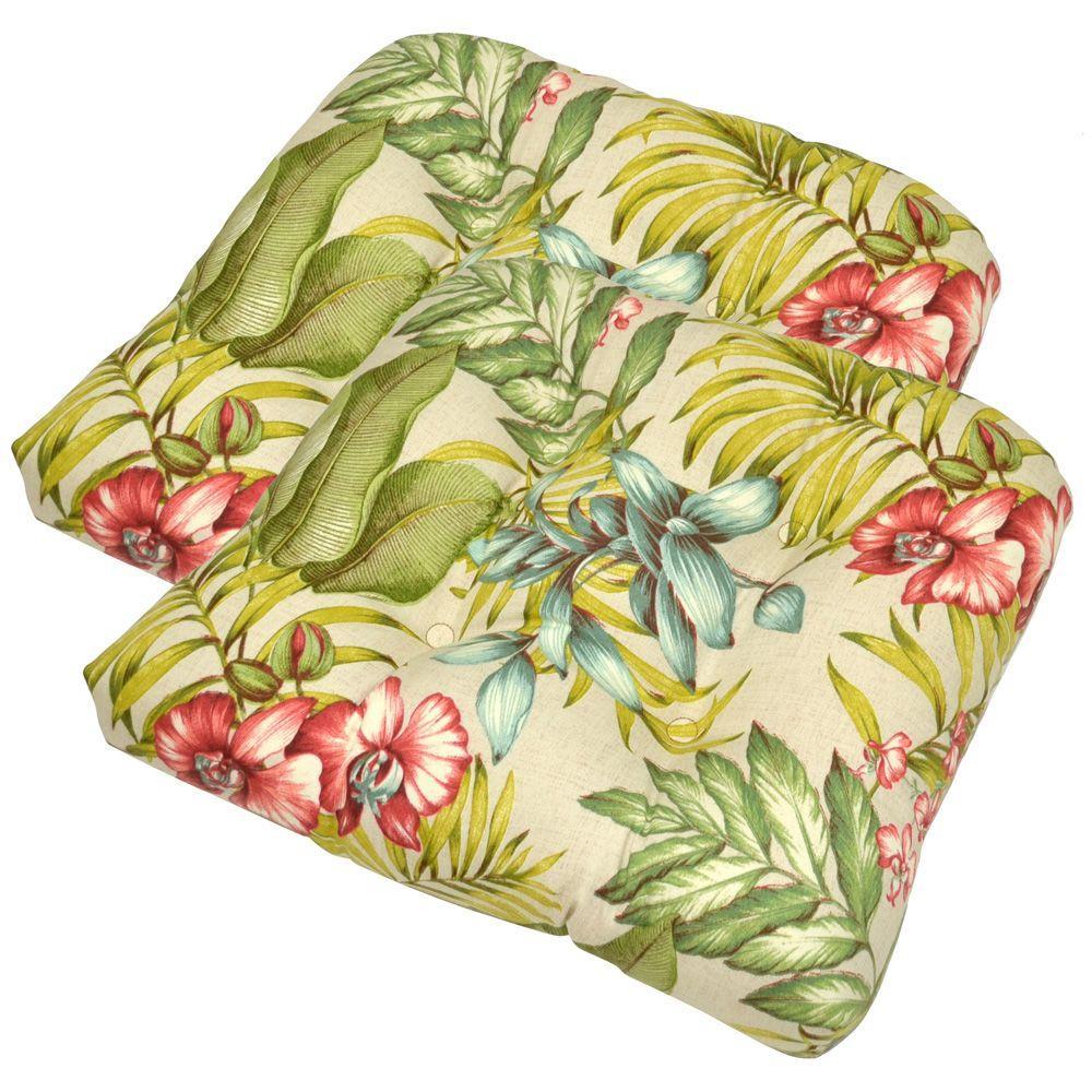 Plantation Patterns Santa Cruz Tropical Tufted Outdoor Seat Pad (2-Pack)-DISCONTINUED
