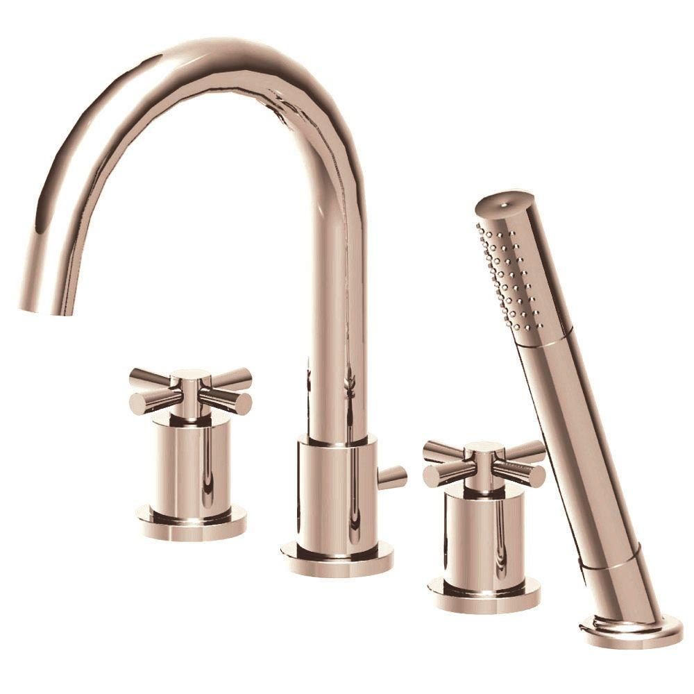 Belle Foret Modern Cross 2-Handle Deck-Mount Roman Tub Faucet with Ceramic Disc Cartridge and Handheld Shower Head in Brushed Nickel