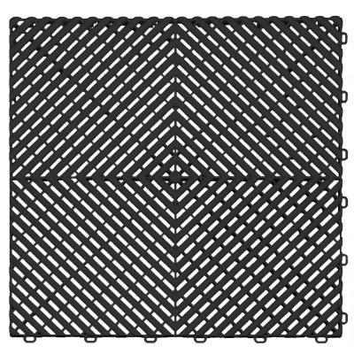 Black and Silver Double Car Pad Ribtrax Modular Tile Flooring (268 sq. ft./case)
