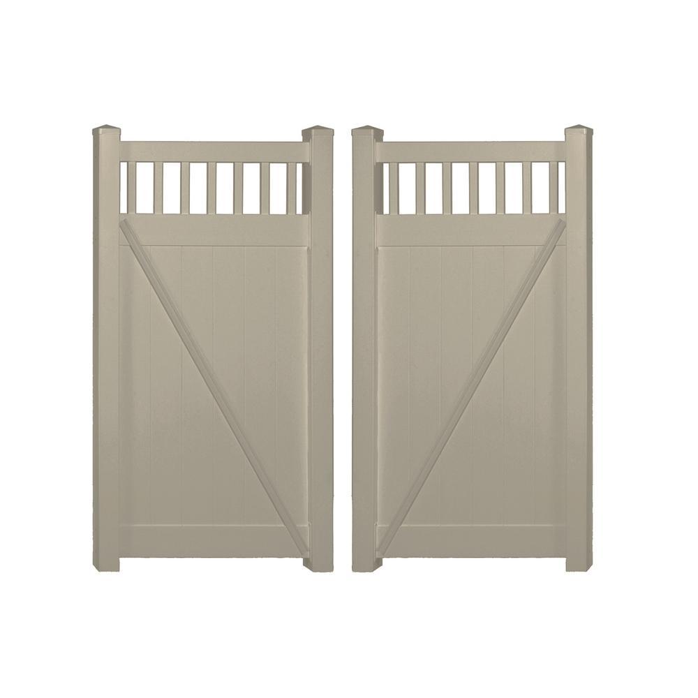 Vinyl fence double gate Backyard Fence Khaki Vinyl Privacy Fence Double Gate Kit The Home Depot Weatherables Mason 74 Ft Ft Khaki Vinyl Privacy Fence