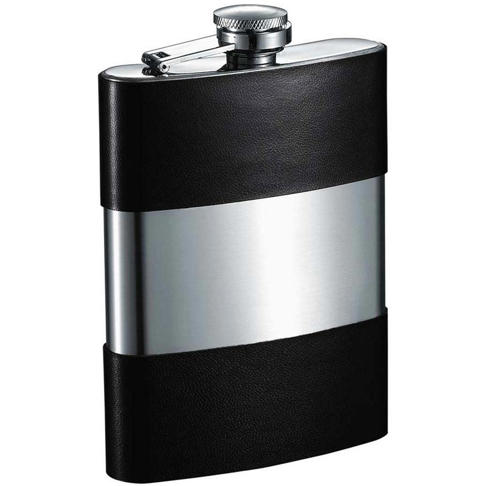 Andrew Handcrafted Genuine Black Leather Liquor Flask