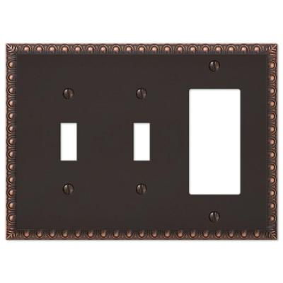 Antiquity 3 Gang 2-Toggle and 1-Rocker Metal Wall Plate - Aged Bronze