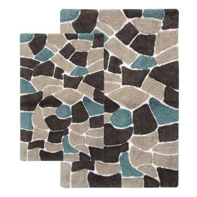 Boulder 21 in. x 34 in. and 24 in. x 40 in. 2-Piece Bath Rug Set in Slate