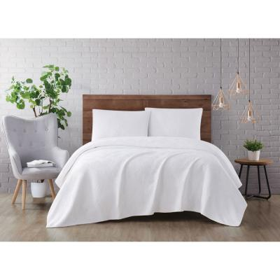 Washed Rayon Basketweave 3-Piece White Full/Queen Quilt Set