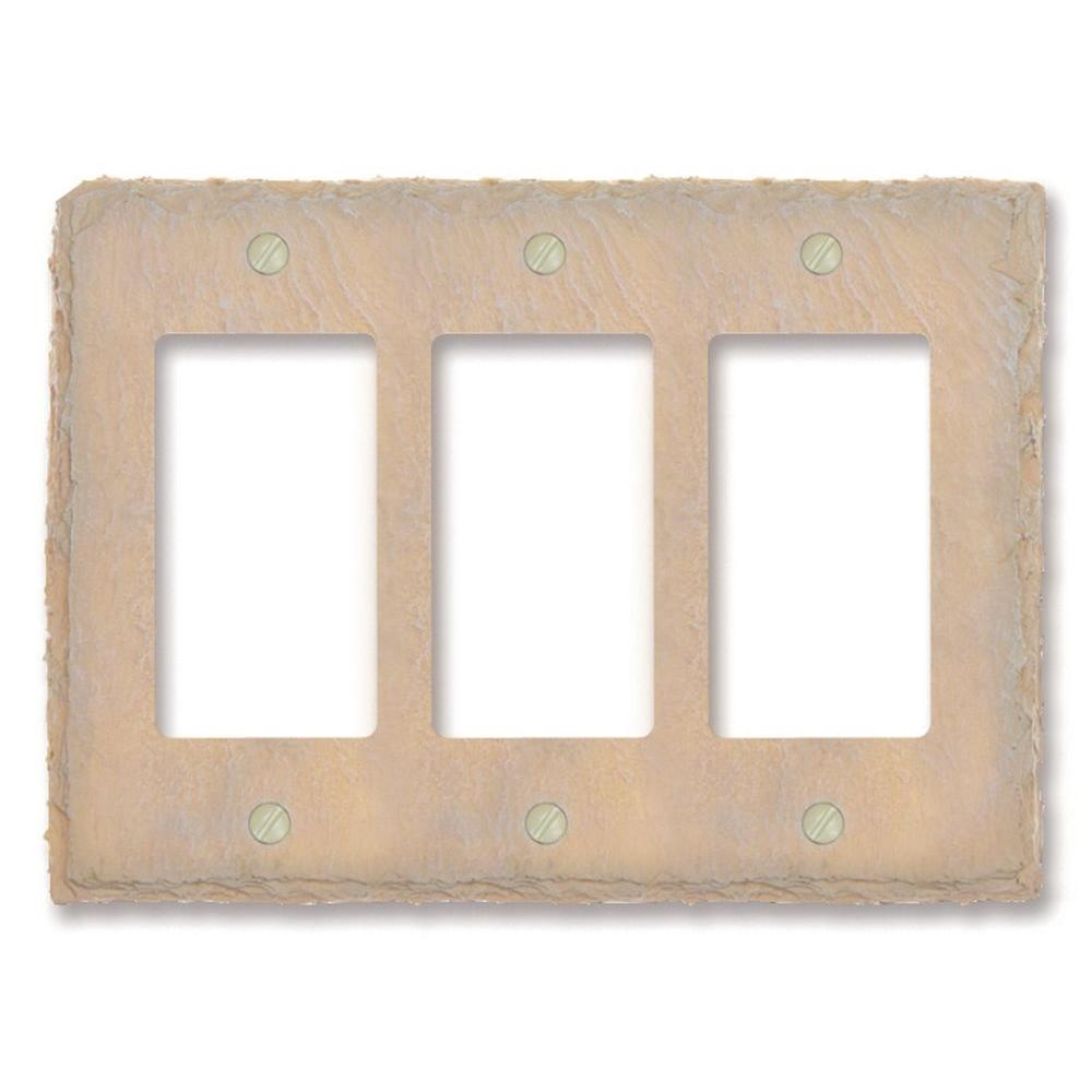 Amerelle Faux Slate Resin 3 Decora Wall Plate - Almond
