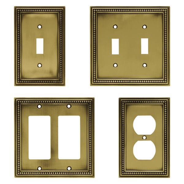 Hampton Bay Brass 1 Gang Toggle Wall Plate 1 Pack W10097 Abt Uh The Home Depot